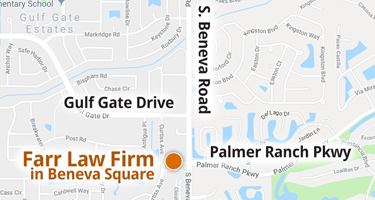 Sarasota small map showing Farr Law Firm office location in Beneva Square at the intersection of Beneva Road and Palmer Ranch Parkway.